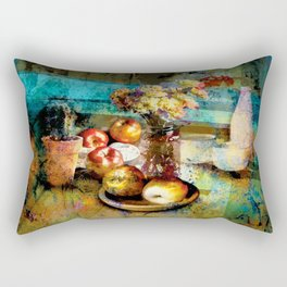 Still life with flowers and apples Rectangular Pillow