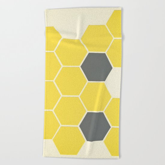 Yellow Honeycomb Beach Towel