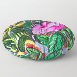Etude with Tropical Flowers Floor Pillow