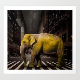 Elephant in New York Art Print