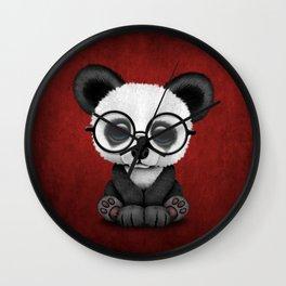 Cute Panda Bear Cub with Eye Glasses on Red Wall Clock