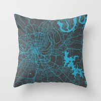 nashville Throw Pillows featuring Nashville by Map Map Maps