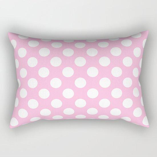 White polkadots dots polkadot circles on pink #Society6 Rectangular Pillow