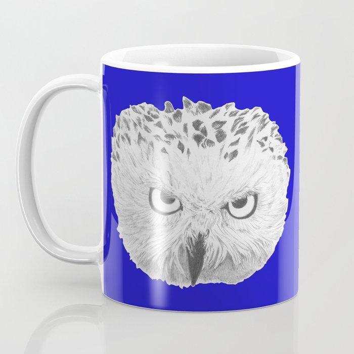 Snowy Owl Bright Blue Coffee Mug