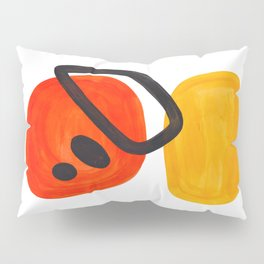 Midcentury Modern Colorful Abstract Pop Art Space Age Fun Bright Orange Yellow Colors Minimalist Pillow Sham