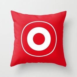 Red and White Bullseye Throw Pillow