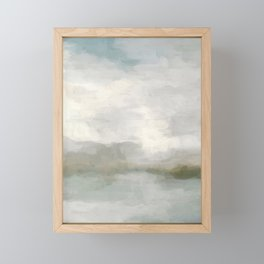 Modern Abstract Painting, Light Teal, Sage Green, Gray Cloudy Weather Digital Prints Wall Art, Ocean Framed Mini Art Print