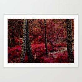 Red forest landscape electric alien Art Print