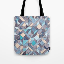 Shifitng Geometric Pattern in Blue Tote Bag