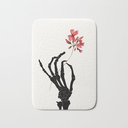 Skeleton Hand with Flower Bath Mat