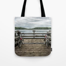 Bikes on the pier Tote Bag