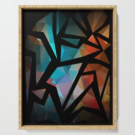 Abstract background of triangles polygon print. Serving Tray
