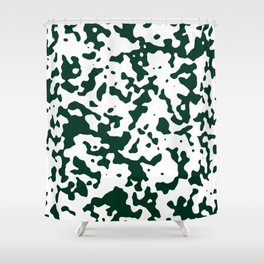 Spots - White and Deep Green Shower Curtain