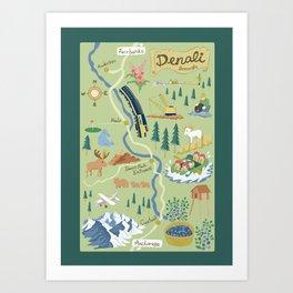 Denali Borough Map Art Print