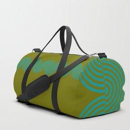 groovy minimalist pattern aqua waves on olive Duffle Bag