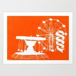 Seaside Fair in Orange Art Print