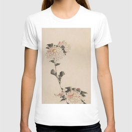 Pastel Pink Flower Blossoms on Long Stalk, Japanese painting T-shirt