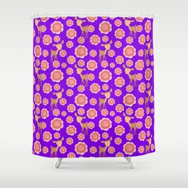 Little pretty baby fawns deer and dusty pink blooming roses seamless vintage retro purple pattern Shower Curtain