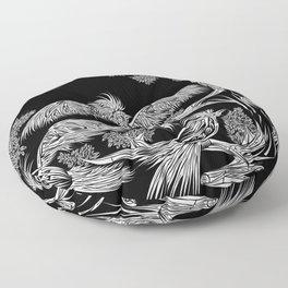 Japanese Birds Inverted Floor Pillow