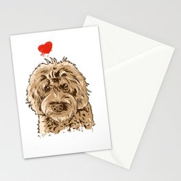 Cute I Love My Goldendoodle Gift Golden Doodle Print Stationery Cards