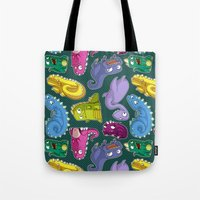 dinosaurs Tote Bags featuring Dinosaurs by Fabio Leone