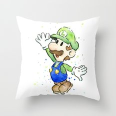 Luigi Watercolor Mario Nintendo Art Throw Pillow