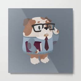 Smart Bulldog Character Metal Print