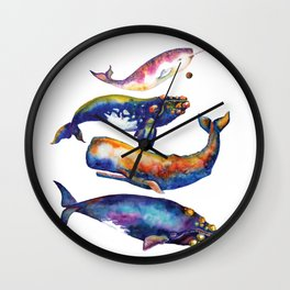 Whale Pyramid #4 - Watercolor Whales Wall Clock