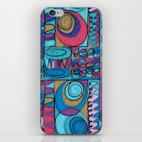 stained glass iPhone & iPod Skins featuring Stained Glass by Helene Michau