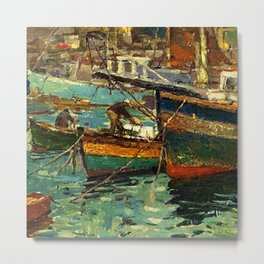 Twilight, Fishing Boats - Port of Jerusalem, Rhode Island Metal Print