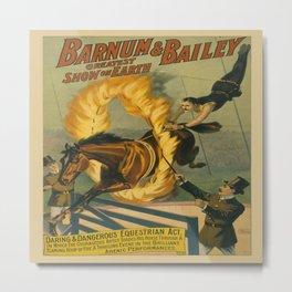 Vintage poster - Circus Horse Jumping Through Fire Metal Print