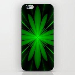 Neon Green Flower Fractal iPhone Skin