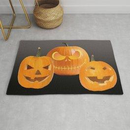Orange Halloween Pumpkin faces Rug