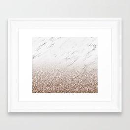 Glitter ombre - white marble & rose gold glitter Framed Art Print