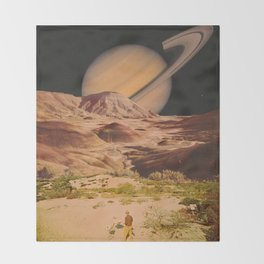 Saturnian desert Throw Blanket