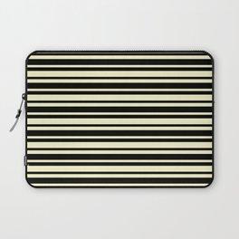 Cream Yellow and Black Horizontal Var Size Stripes Laptop Sleeve