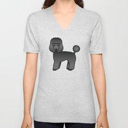 Black Toy Poodle Dog Cute Cartoon Illustration Unisex V-Neck