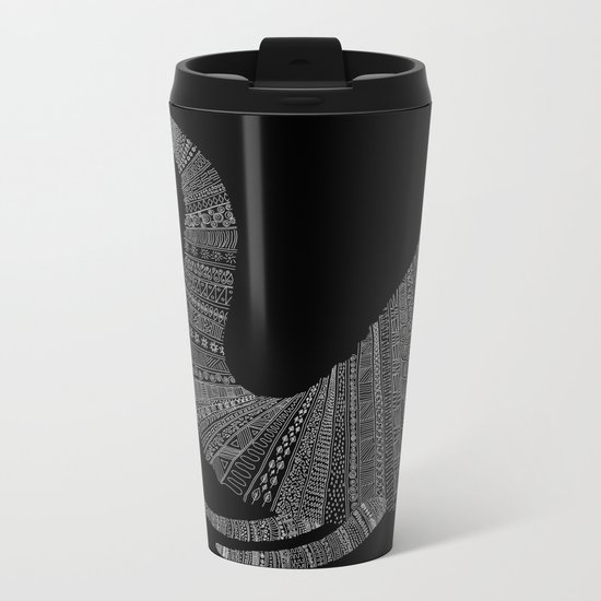 Elephant (On Black) Metal Travel Mug