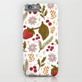 Happy Holidays Berries and Holly iPhone Case