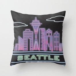 Seattle Neon City Throw Pillow