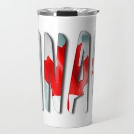 Canada Word With Flag Texture Travel Mug