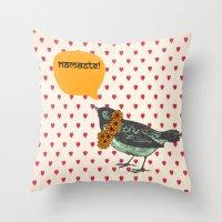 namaste Throw Pillows featuring Namaste! by Sreetama Ray