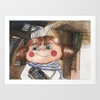 leia Art Prints featuring Leia by Alejandra Dirzo