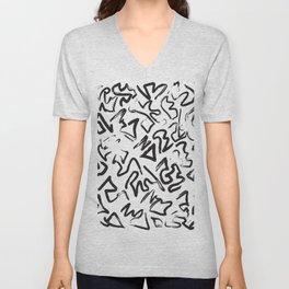 Modern Black White Abstract Graffiti Brushstrokes Unisex V-Neck