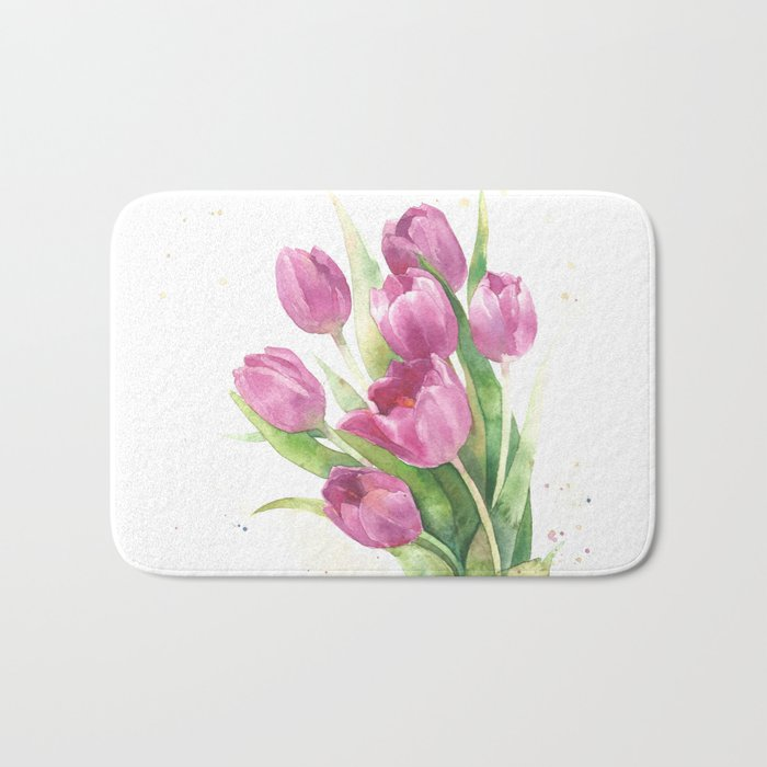 Watercolor bouquet of pink tulips Bath Mat