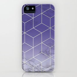 Geometric Marble Ultraviolet Purple Gold iPhone Case