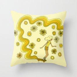 groovy skate hang 10 // tony alva style // surfy birdy art Throw Pillow