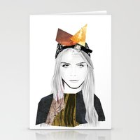 cara delevingne Stationery Cards featuring CARA DELEVINGNE by Nora Fikse