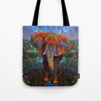 elephant Tote Bags featuring Elephant by Waelad Akadan