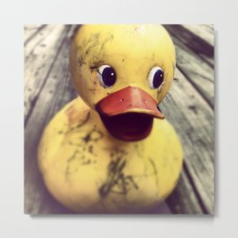 Yellow Rubber Ducky Covered in Dirt! Metal Print